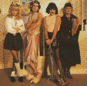 Members of Queen, in drag, looking amazing. From the music video for I Want To Break Free.