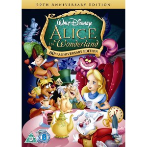 Alice in Wonderland DVD cover, with Alice, the Mad Hatter, the Cheshire Cat, etc.